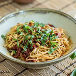 Basil Pine Nut Two Tomato Pasta {Vegan} Recipe