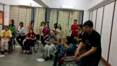 Photo: The participants of the Inclusive Flash Mob for World Disability Day 2014 shaking a leg at the rehearsals.