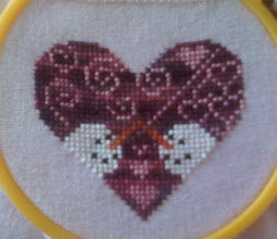 Photo: Completed 5 August 2010. Snow Love (2007) from Heartstruck Friends by Midnight Stitching. This was stitched using Sampler Threads cotton 6 strand on 28ct Stawberry Milkshake Lugana from Silkweaver. Stitch count: 41w x 36h.