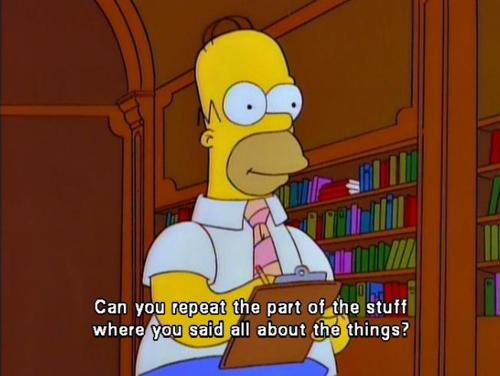 "Homer Simpson says, ""Can you repeat the part of the stuff where you said all about the things?"""