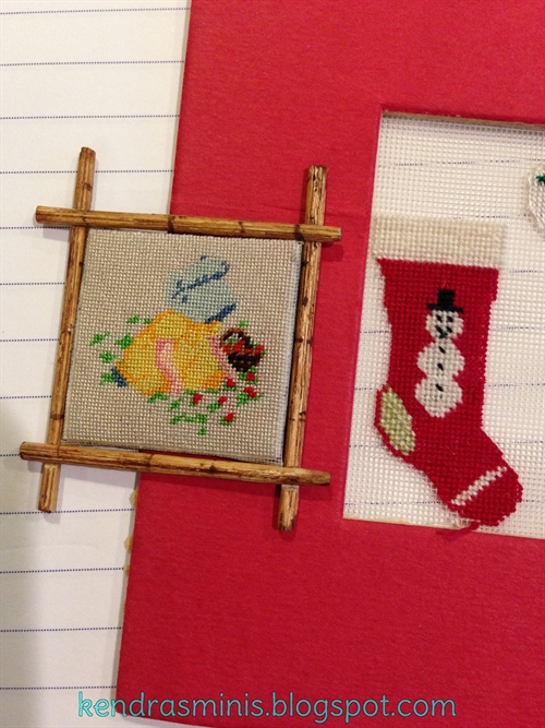 Photo: Needlework by Ligia Durstenfeld (left) and myself (stocking)