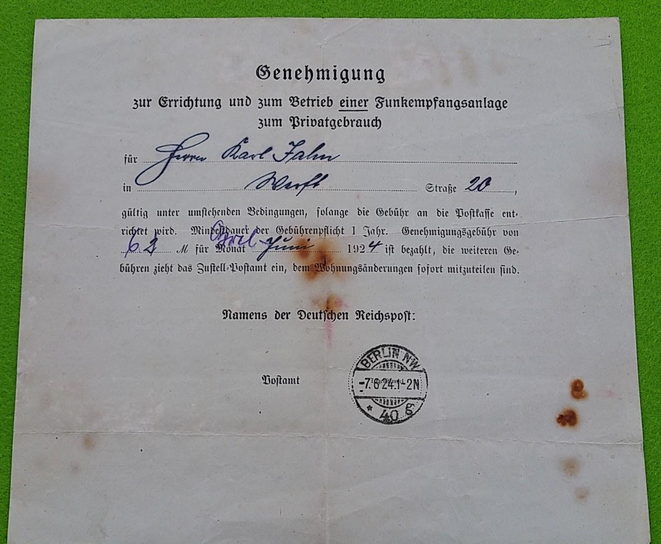 Genehmigung zur Errichtung und zum Betrieb einer Funkempfangsanlage zum Privatgebrauch, 7.6.1924