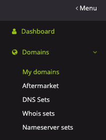 Menu > Domains > My Domains