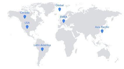Map of the world showing five regions: Canada, USA, Latin American, EMEA, Asia Pacific