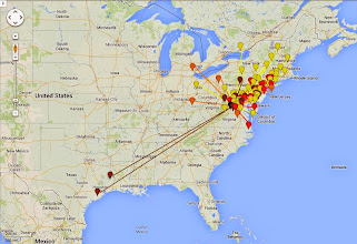 Photo: K8GP/R - FM08us 50-432 MHz QSO map - ARRL June VHF 2014 - Brn=50 Red=144 Org=222 Yel=432