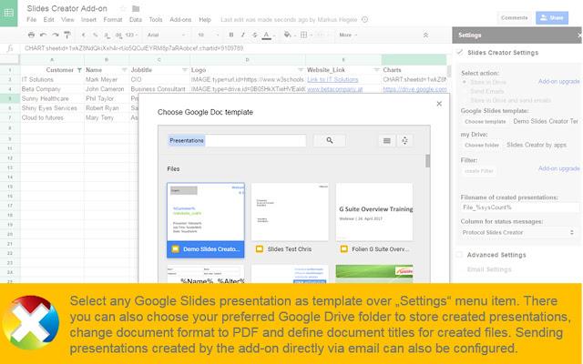 Slides Creator Google Sheets Addon - Google presentation format