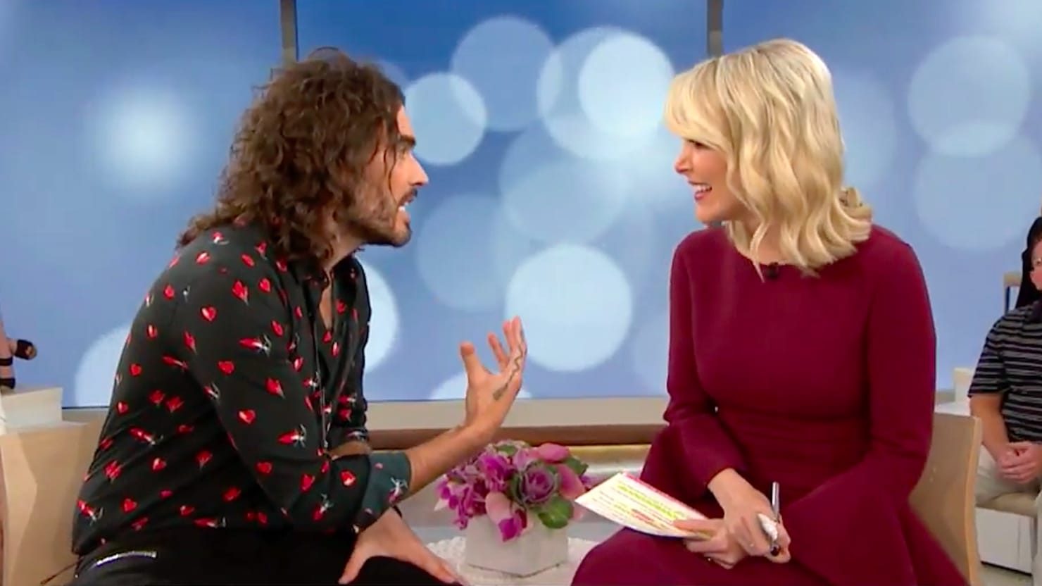 Russell Brand at an in person interview on live television.