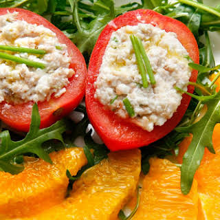 Tomatoes Stuffed with Cream Cheese and Tuna.