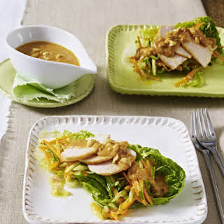 Chicken Breasts with Salad and Peanut Sauce.