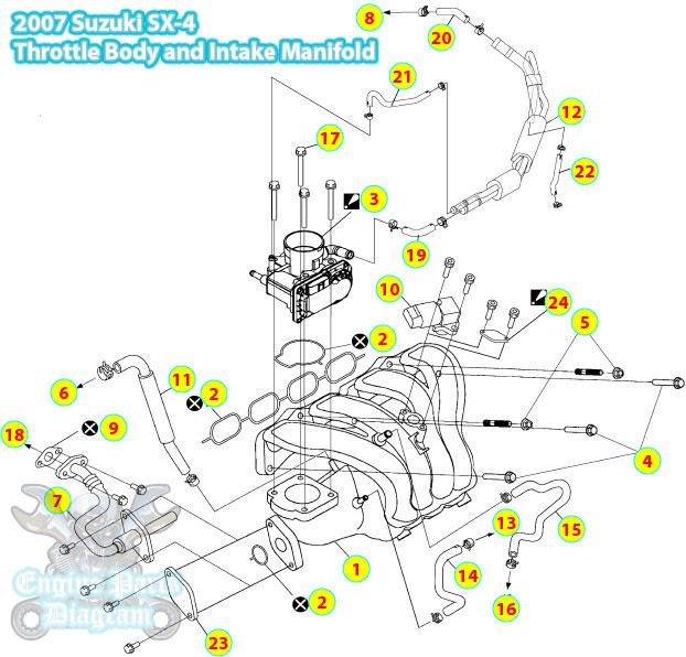 2007 Suzuki SX-4 Throttle Body And Intake Manifold Components