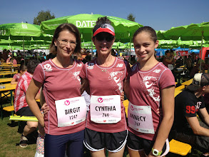 Photo: Ready for the start of the Lady Challenge 5k race — with Birgit Reinel-Neumann and Annecy Daggett.