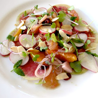 Radish And Citrus Salad With Candied Shallots.