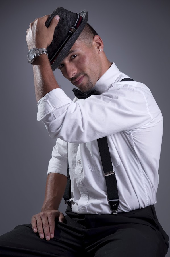 suspenders and bowtie by Eric Jimenez - People Portraits of Men ( bow-tie, suspenders, fedora )