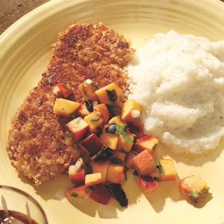 Pecan-Crusted Turkey Tenderloin with Grilled Peach Salsa.