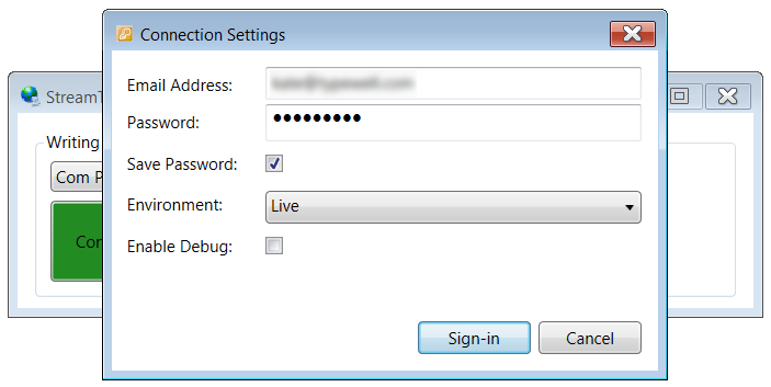 Connection settings for StreamText connector including email address, password, and environment