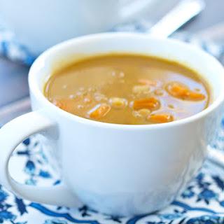 Crockpot Vegan Coconut Curry Chickpea Lentil Soup.