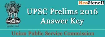 UPSC Prelims 2016 Answer Key & Cut Off