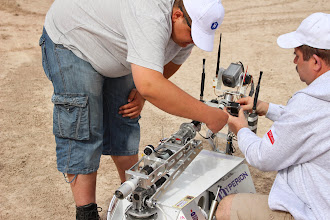 Photo: The returning champions from the Hyperion Team (Technical University of Bialystok, Poland), prepares for their first task of 2014, the Sample Return Task.