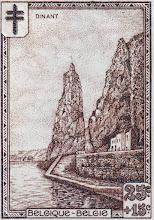 """Photo: """"Les sites"""" (2-12-1929). Rocher Bayard à Dinant."""