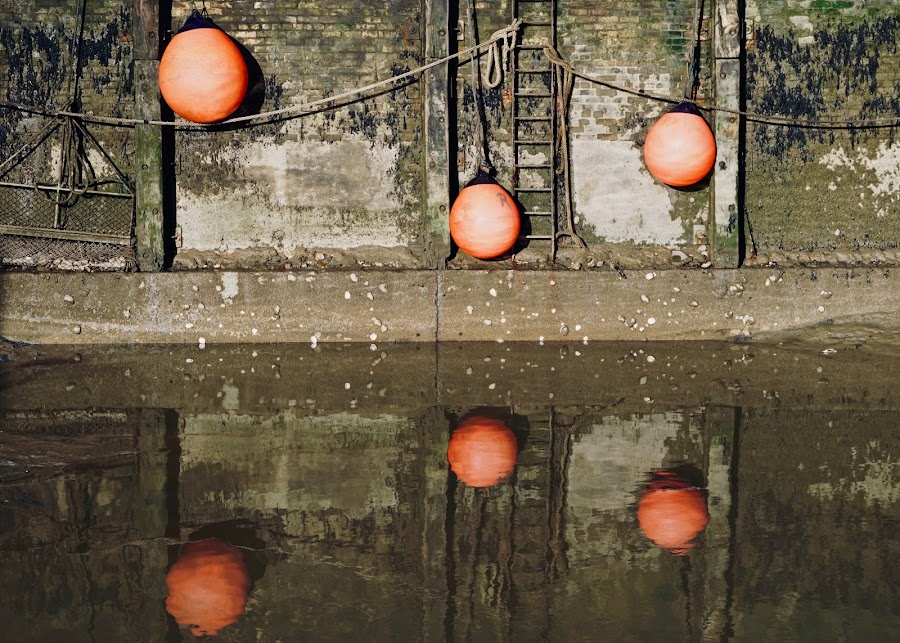 3 Buoys Refected by Sue Fisher - Uncategorized All Uncategorized ( harbour, reflection, fishing, whitstable, buoys )