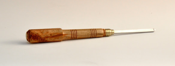 "Photo: Michael Blake - Shop-made 1/4"" Groove Cutting Tool - 6 3/8"" handle, 3 3/8"" blade - Cherry Burl"