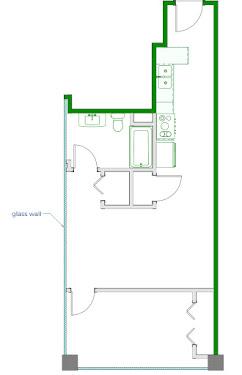 Warhol Floorplan Diagram 610 sq ft