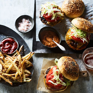 Black Truffle Burgers with Air-Fried French Fries.
