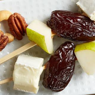 Medjool Date, Pear & Brie Skewers.