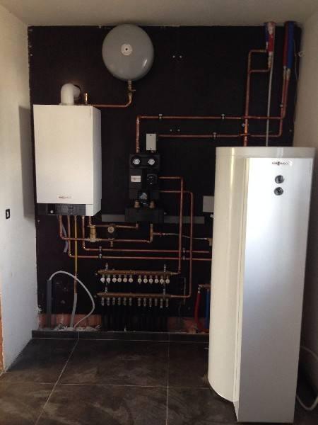 Realisaties Verelst Heating - gasketel Vitodens 300-W 19 kW met zonneboiler Vitocell 100 U/W email 300 liter
