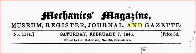 Photo: samedi 7 fevrier 1846 Mechanic's Magazine
