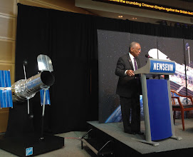 Photo: NASA Administrator Charles Bolden addresses attendees of the Hubble 25th Anniversary Image Unveiling.