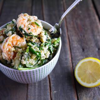 Shrimp Quinoa with Fresh Herbs, Vegetables and Feta Cheese.