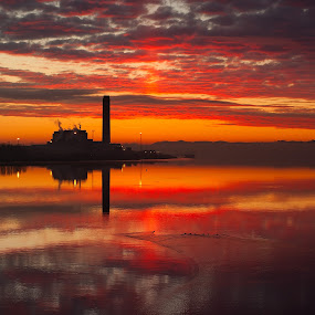 Awakening Power by Jon Marshall - Landscapes Waterscapes ( power station, sunrise, nikon )