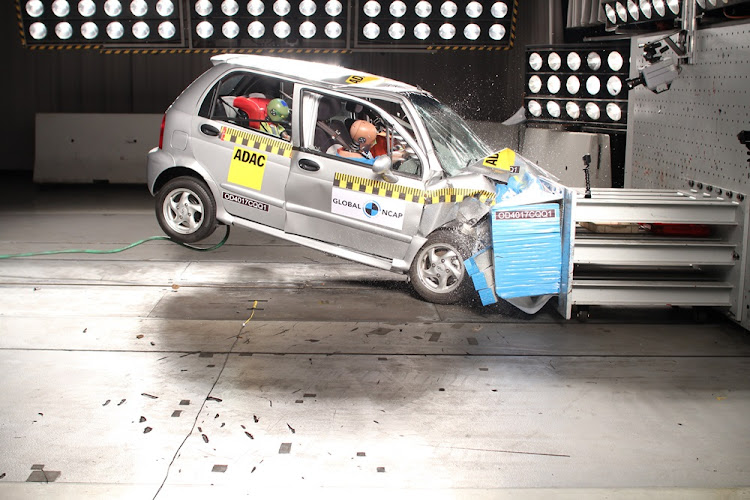 The Chery QQ3 during the crash test.