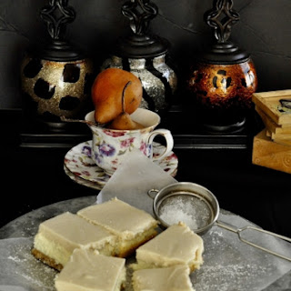Pear Mousse Cheesecake Squares (Eggless)