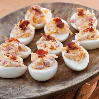 Pimiento Cheese and Bacon Topped Eggs.