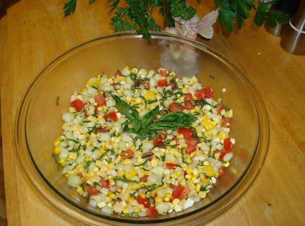 Fresh Basil, Corn And Tomato Salad