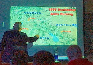 Photo: Map of Caucasus showing 3 burning of arms sites. Notes and slides at http://www.spirit-wrestlers.com/evolution.html
