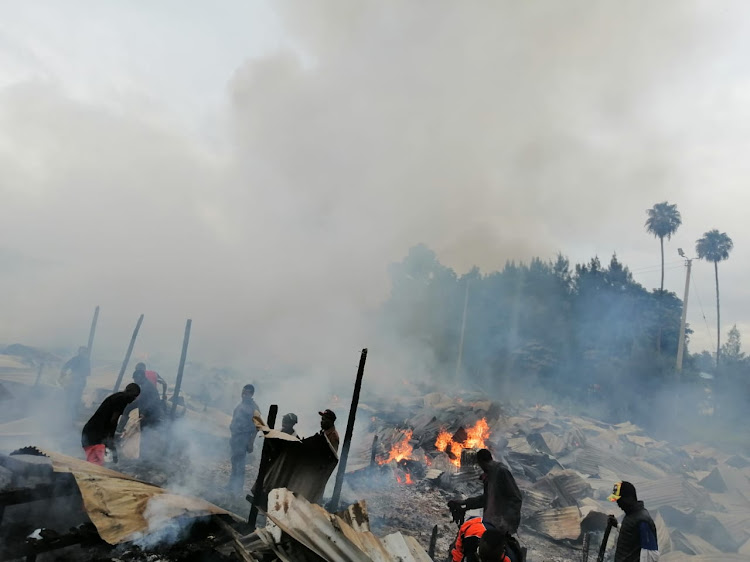 The scene where a fire razed stalls at the populous Gikomba Market.