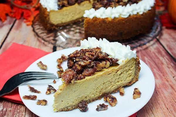 A Slice Of Praline Pumpkin Cheesecake.