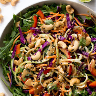 Zucchini Noodle Pad Thai Salad with Sesame-Cashew Dressing.