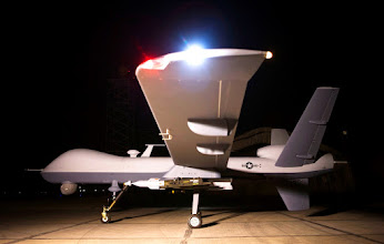 Photo: An MQ-9 Reaper sits on a ramp in Afghanistan Sept. 31. The Reaper is launched, recovered and maintained at deployed locations, while being remotely operated by pilots and sensor operators at Creech Air Force Base, Nev.  (Courtesy photo)