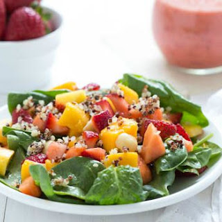 Strawberry Tropical Fruit Salad with Strawberry-Ginger Dressing