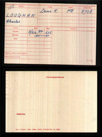 Charles Loughan's Medal Index Card