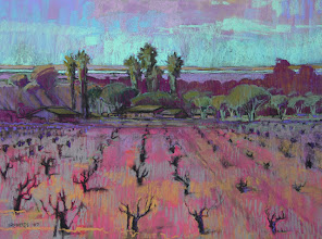 Photo: Oakley Vineyard, pastel by Nancy Roberts, copyright 2014. Private collection.