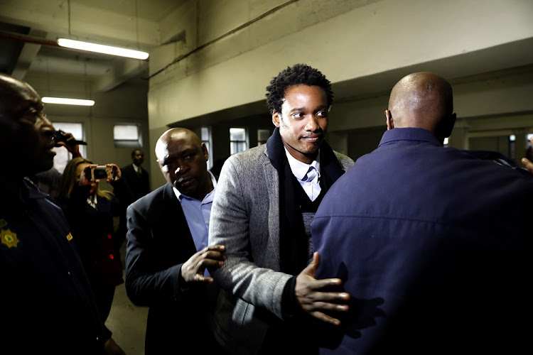 Duduzane Zuma arrives at the Specialised Crimes Court in Johannesburg on July 9 2018.