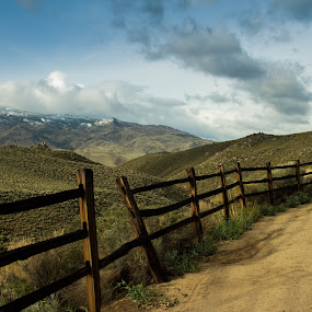 Somersett Fence by John Shelton - Landscapes Deserts ( fence, desert, reno, nevada, trail, path,  )
