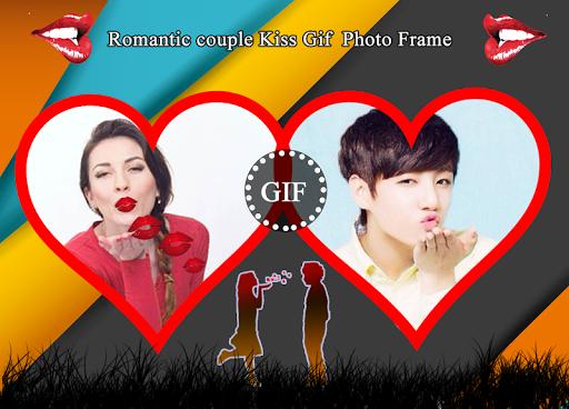 Romantic Couple Kiss Gif Photo Frame 2018 1.1 screenshots 1