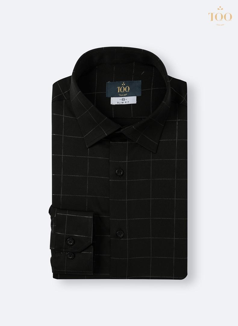 Mẫu áo sơ mi nam màu đen dài tay kẻ chìm K307CS
