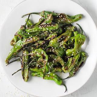Blistered Sesame Garlic Shishito Peppers.